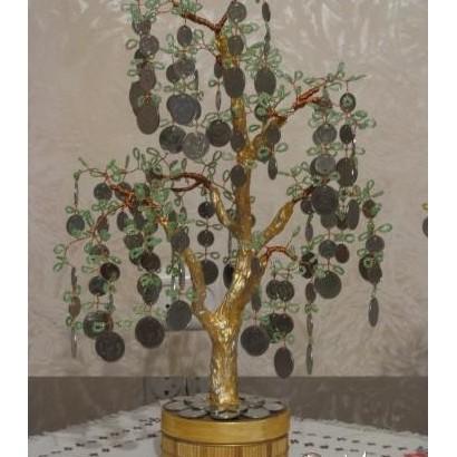 Дерево из монет и бисера своими руками фото